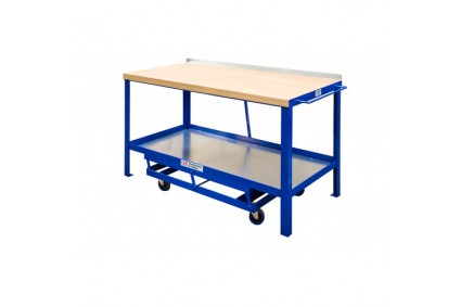 Mobile Workbench With Hard Wood & Steel Top
